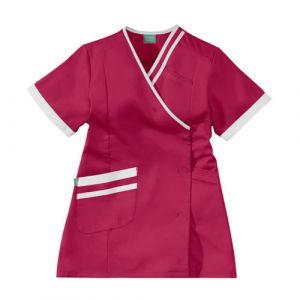 Tunique médicale femme LILEE 8TCC00PC Rose fushia/Blanc