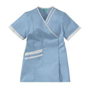 Tunique médicale femme LILEE 8TCC00PC Bleu ciel/Blanc