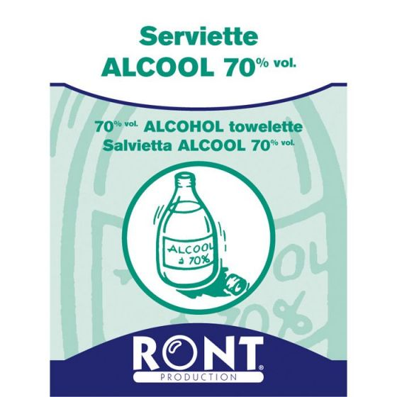 Serviettes à Alcool 70 % Isopropylique Ront 23060 Boîte de 100