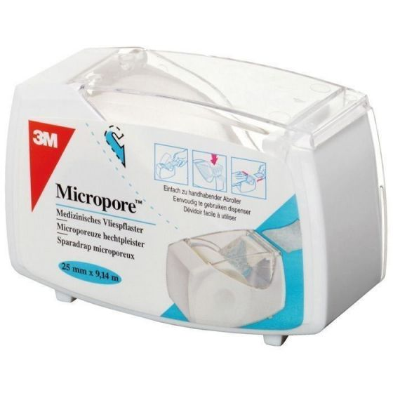 Sparadraps 3M Micropore - Avec dévidoir hermétique blanc